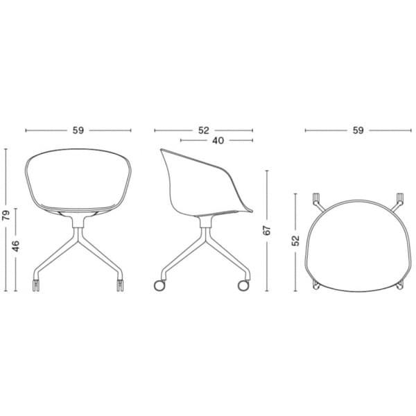 Le fauteuil à roulettes About a Chair par HAY - réf. AAC24 - assise en polypropylène, coussin fixe en option, piétement en alumi