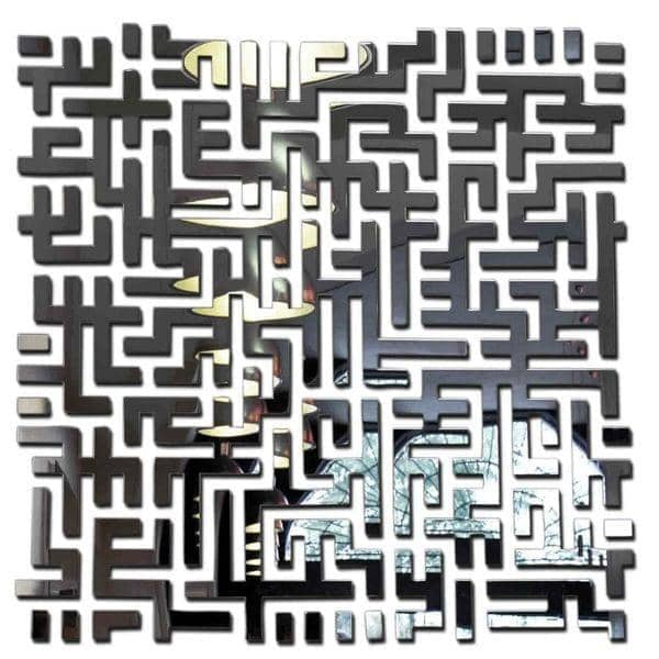 Decorative mirror LOST by Arik Levy: like a maze - 98 x 98 cm