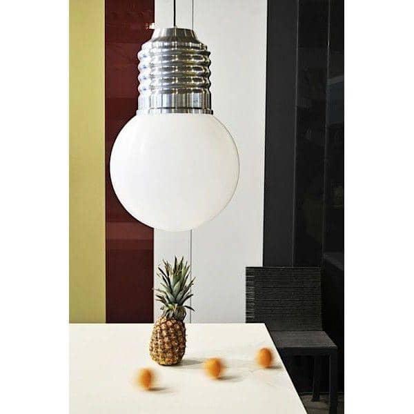 BASIC, מנורת תקרה יפה, שרוול אלומיניום מלוטש, גלובוס פוליאתילן