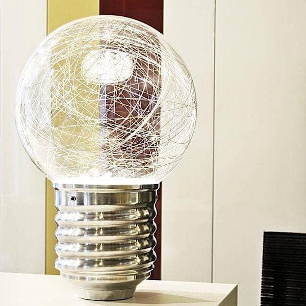 NEPTUNE en gulvlampe eller en bordlampe i poleret aluminium og blæst glas eller PMMA - deco og design