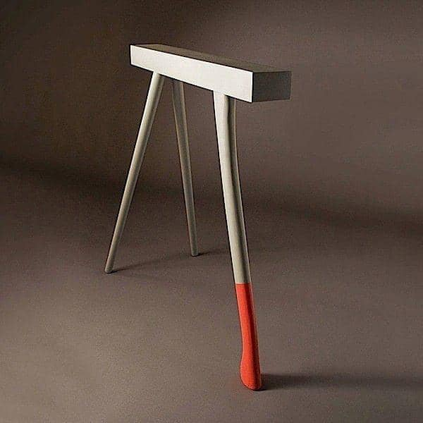 H trestles made in solid beechwood, grey and red lacquered. Designed by Christian Ghion