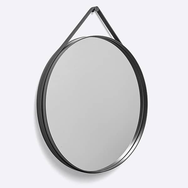 Strap un bel specchio rotondo in acciaio verniciato a - Polvere a specchio ...