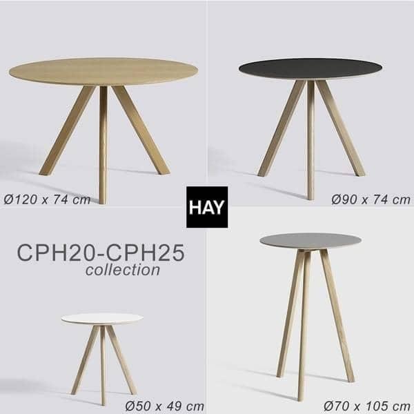 La table ronde COPENHAGUE CPH20 et CPH25 en bois massif et multiplis, par Ronan et Erwan Bouroullec: l'essence du design danois revisité par deux designers français