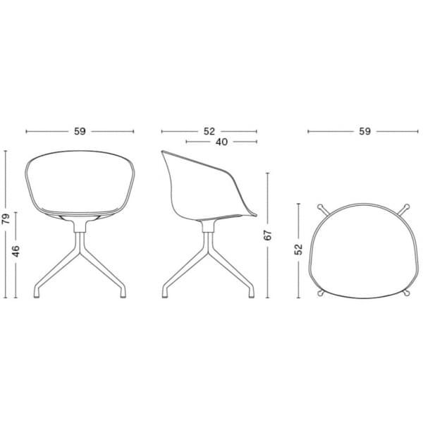 Le fauteuil DUO About a Chair par HAY - réf. AAC20 DUO - dossier en polypropylène apparent, assise en tissu monté sur mousse Oek