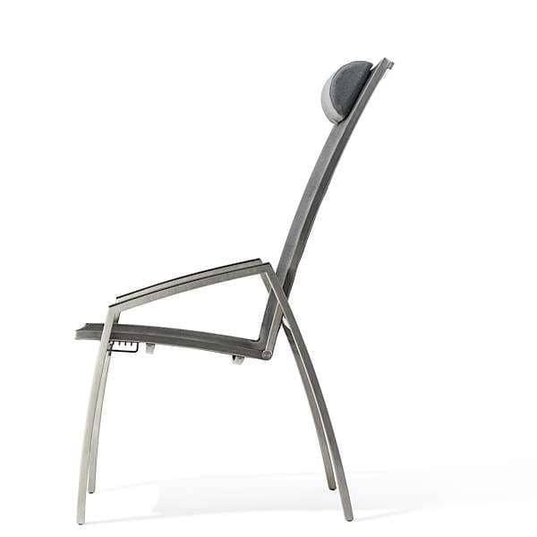 Fauteuil ALCEDO multi-positions, inox brossé et BATYLINE, indoor / outdoor, fabriqué en Europe