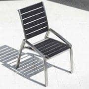 Chaise ALCEDO-EB, inox brossé et Bandes élastiques, indoor / outdoor, fabriqué en Europe