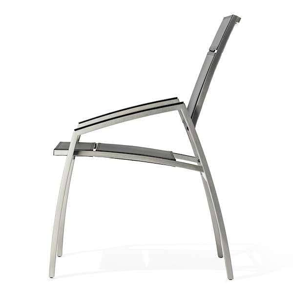 Armchair, ALCEDO, stainless steel and vinyl SKAI, trimmed armrests, indoor and outdoor, made in Europe