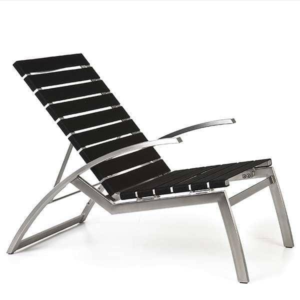 Fauteuil lounge multi-positions ALCEDO-EB, inox brossé et Bandes élastiques, indoor / outdoor, fabriqué en Europe