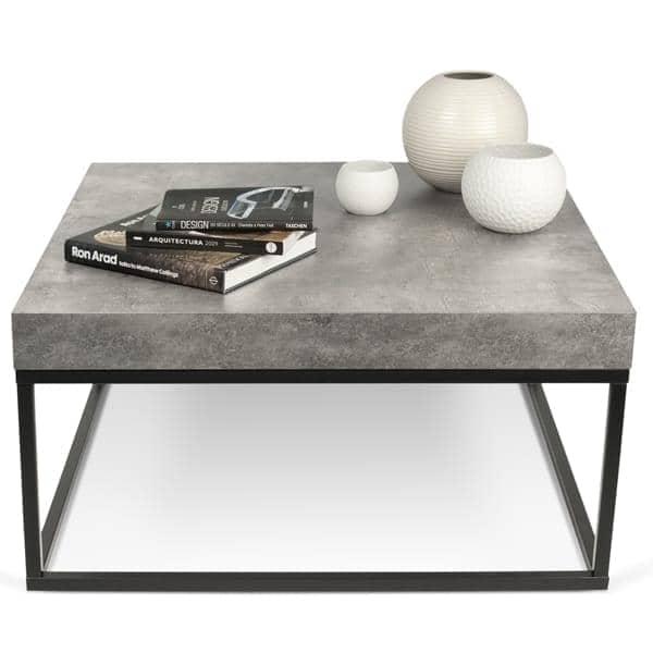petra mesa de centro y mesa temahome aspecto concreto y acero temahome. Black Bedroom Furniture Sets. Home Design Ideas