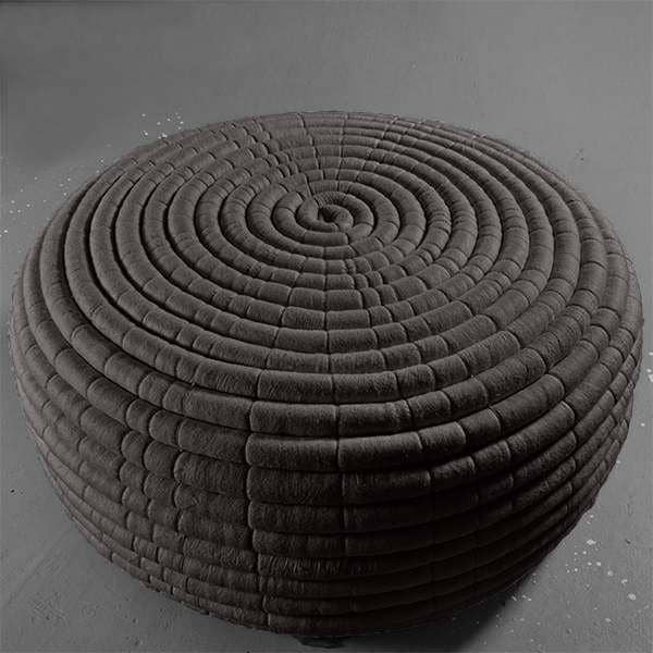 An Ottoman Or Coffee Table Two Dimensions In Merino Wool