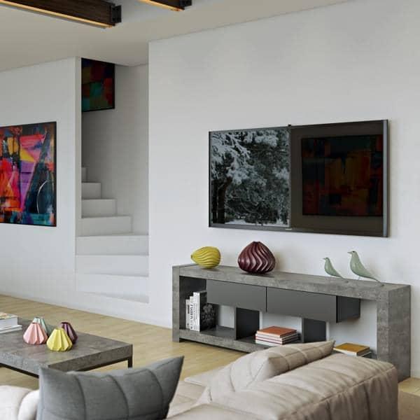 NARA, Meuble TV qui trouvera sa place adossé à un mur ou au milieu du salon