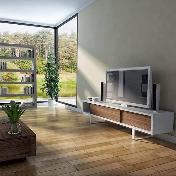 SLIDE, TV stativ eller lav skænk, en afrundet metal fod, skydedøre, for en moderne rum - designet af NUNO HENRIQUES