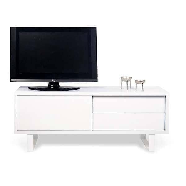 NILO, Meuble TV ou buffet bas : pieds métal, porte coulissante, tiroirs. Rien ne manque