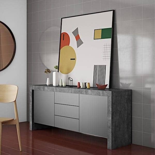 KOBE, Aparador contemporâneo, com uma capacidade de armazenamento impressionante. também disponível no aspecto concreto - projetado por TEMAHOME