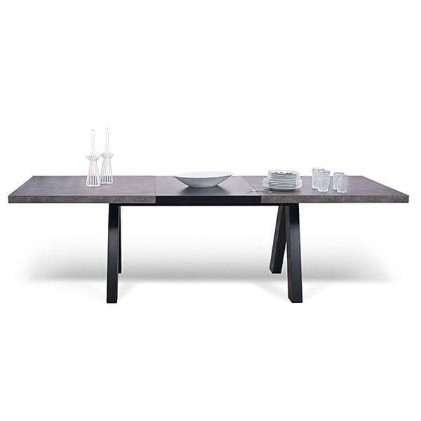 Tavolo da pranzo APEX, compatto o allungabile 200/250 cm x 100 cm: aspetto cemento