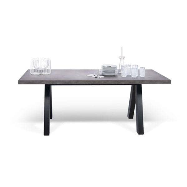 APEX dining table, compact or extendable 200/250 cm x 100 cm: concrete aspect