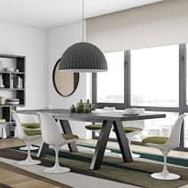 APEX spisebord, kompakt eller uttrekk 200/250 cm x 100 cm: betong aspekt eller vill eik - Designer: Vincente Délio