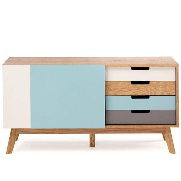 CHASER sideboard, ​​structure in solid oak, 4 drawers, 2 doors, fresh and harmonious colors
