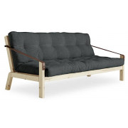 POEMS is a comfortable and original convertible sofa bed. Wood and futon.