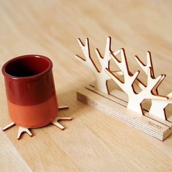 Sous bois, dessous de verre, multiplis hêtre et CP peuplier, design éco-responsable