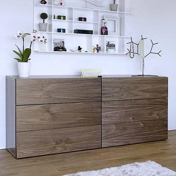 AURORA, commode 6 tiroirs généreuse et design, disponible en plusieurs finitions