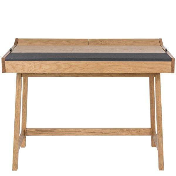 RETRO, un escritorio funcional de 3 solapas, roble y cuero