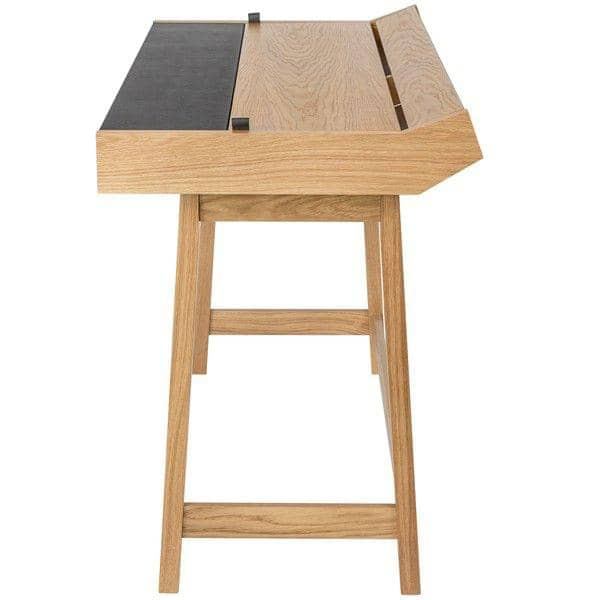 RETRO, a functional desk 3 flaps, oak and leather