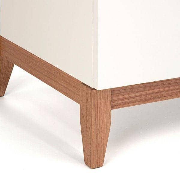 Buffet BLANCO, 120 x 48 x 85 cm, en chêne et bois peint blanc mat, 2 portes, étagère ajustable