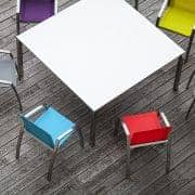 PURO dining tables or coffee table, HPL version by TODUS, great choice of dimensions, robust, clean lines: perfect for use on the terrace or in your living room