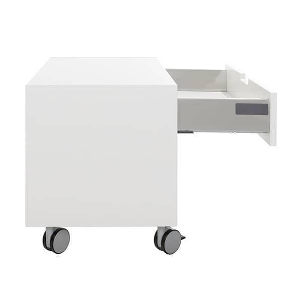 ロックキャスターのモバイルベッドサイドテーブル、オートサイレントクロージング引き出し。