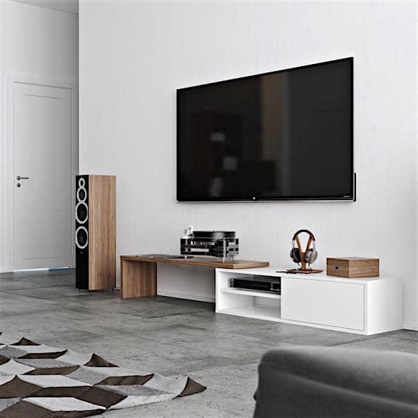 MOVE, um extensível e giratória TV estande, um conceito prático, adaptado a todos os espaços.