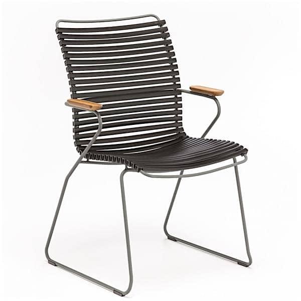 Servering stol, CLICK SYSTEM, høy rygg, harpiks og stål, utendørs, ved HOUE