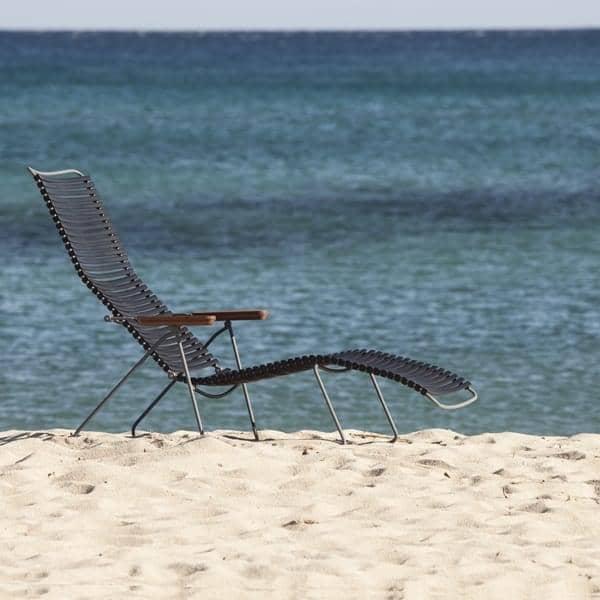 Sun lounge stol, CLICK SYSTEM, harpiks og stål, udendørs, ved HOUE