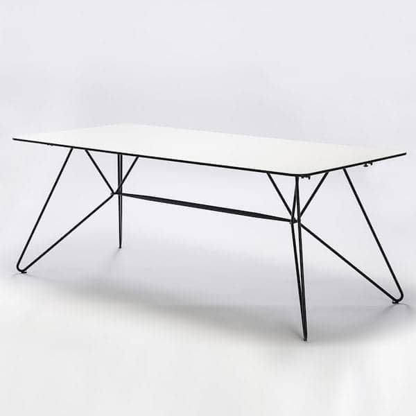 Table SKETCH, bambou ou HPL et acier laqué epoxy gris, outdoor