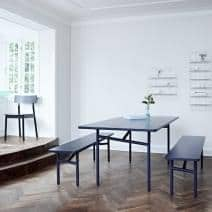 DIAGONALE, a wood and metal dining table, a very contemporary and timeless design. WOUD