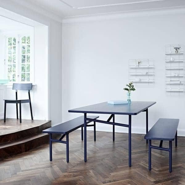 DIAGONALE, una mesa de comedor de madera y metal, WOUD