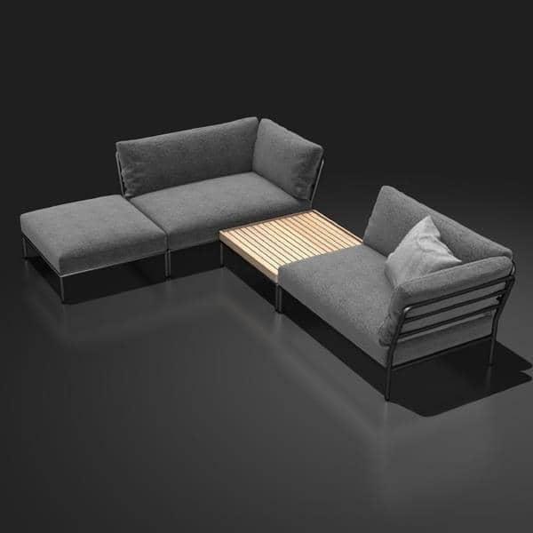 Mobili da giardino LEVEL per comporre, alta qualità, divano, pouf e tavolino