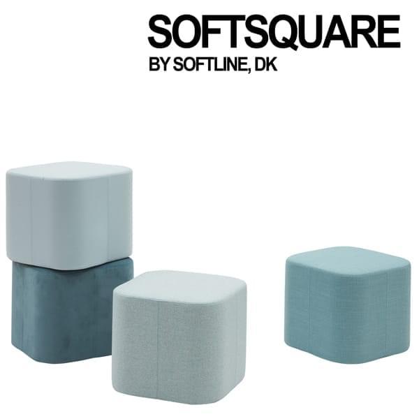 SOFT SQUARE, um pouf intemporal com uma bandeja adicional.
