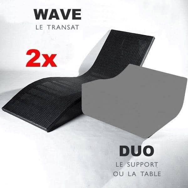 Pack Outdoor WAVE : 2 x transats WAVE, lignes élégantes et arrondies