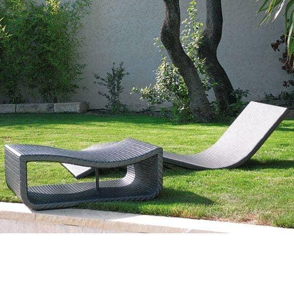 Pack 2 x DUO - Table pour le transat WAVE : arrondi et élégant, au jardin et sur la terrasse