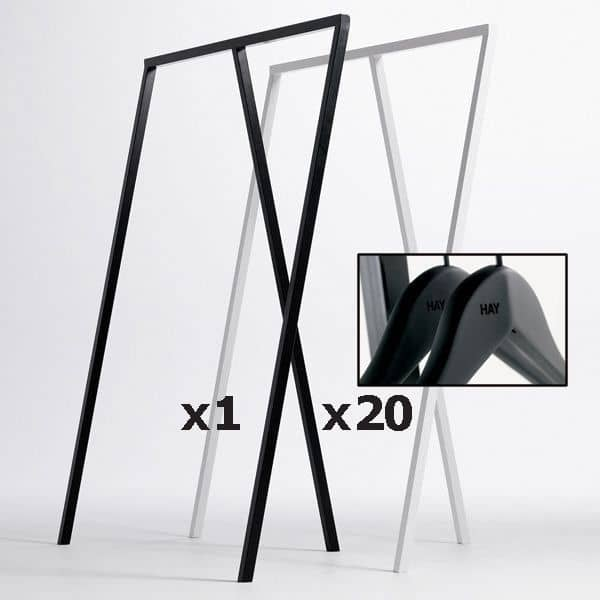 SET : 1 LOOP Stall Garderobeskap + 20 Myke Strikkhengere: Nordisk design til best pris