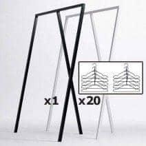 set 1 loop stand wardrobe 20 black wire hangers hay nordic design at its best price