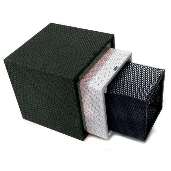 3 Tables basses ou 3 poufs gigognes KUBIX, résine tressée traitée anti-UV