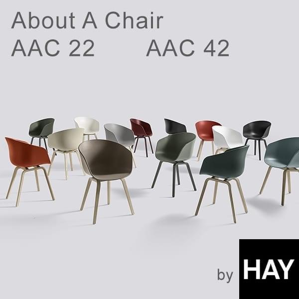 ABOUT A CHAIR - ref. AAC22 e AAC42 - shell de polipropileno, almofada fixa opcional, estrutura em madeira de carvalho, duas possíveis alturas, HEE WELLING e HAY