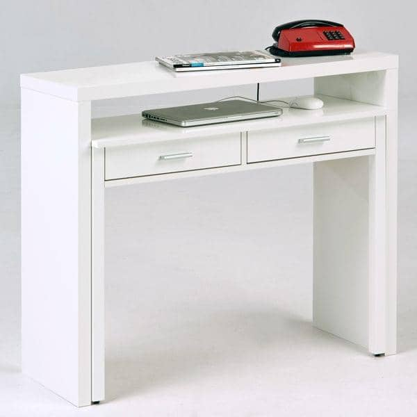 console bureau desk deux tiroirs laqu e blanc ou finition ch ne leonhard pfeifer. Black Bedroom Furniture Sets. Home Design Ideas