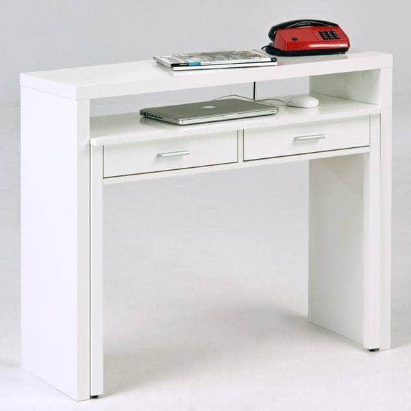 La Console Bureau Munie De Deux Tiroirs Laquee Blanc Ou Finition Chene Design Leonhard Pfeifer