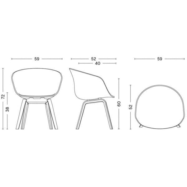 Le fauteuil About a Chair par HAY - réf. AAC23 et AAC43 - Structure en polypropylène, assise intégrale en tissu, montée sur mous