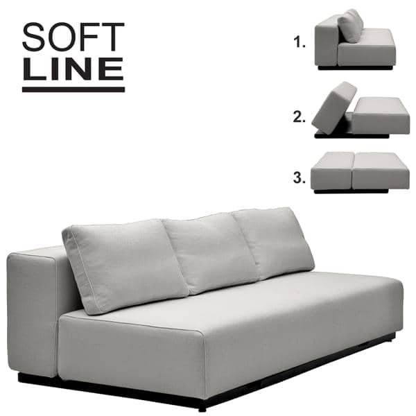 tessuti nevada vision divano trasformabile 2 o 3 posti chaise longue e pouf belle. Black Bedroom Furniture Sets. Home Design Ideas